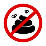 No poop prohibition sign. Prohibition sign with crossed poo, pile of shit with flies in red circle. No pooping vector symbol stock illustration