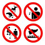 No pooping and peeing people and pets, do not walk on lawns, no spitting sign. Collection of symbols. Vector illustration isolated