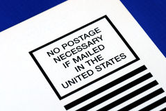 No postage is necessary to mail in the U.S. Stock Images