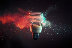 No power at all. Crash of real glass electric modern bulb high speed photography stock photo