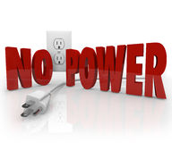 No Power Words Electrical Cord Outlet Electricity Outage. The words No Power in red letters in front of an electrical outlet and an unplugged cord to symbolize stock illustration