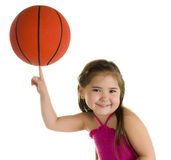 No Problem!. Adorable Pre-Schooler Balancing a Basketball on one Finger Stock Image