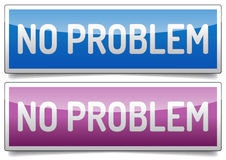 No problem banner. Colored glossy NO PROBLEM banner with shadow on white background Stock Photography