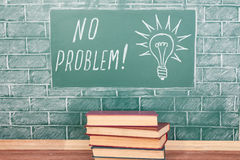 No problem. Education concept with NO PROBLEM inscription and bulb drawing Royalty Free Stock Photo