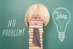 NO PROBLEM. Funny education concept with unusual woman teacher Stock Photography