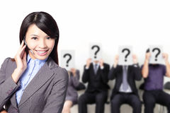 No problem. Smile pretty business woman with headset can answer your question, asian Stock Images