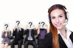 No problem. Smile pretty business women with headset can answer your question, caucasian Royalty Free Stock Photography