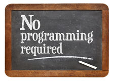 No programming required - blackboard sign Stock Photo