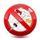 No prohibida muestra roja de las drogas, diseño del ejemplo del vector aislada sobre un fondo blanco libre illustration