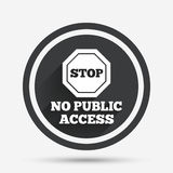 No public access sign icon. Caution stop symbol. Circle flat button with shadow and border. Vector Stock Photo