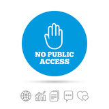No public access sign icon. Caution stop symbol. Stock Images