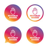 No public access sign icon. Caution stop symbol. Royalty Free Stock Image