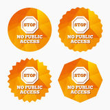 No public access sign icon. Caution stop symbol. Royalty Free Stock Photos