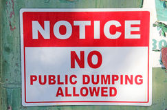 No Public Dumping Allowed Sign Royalty Free Stock Photos