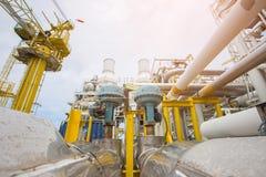 No pueda cerrar el tipo de válvula de control actuada en plataforma de proceso central del petróleo y gas imagenes de archivo