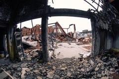 No quemado abajo de fábrica ningún tejado Imagen de archivo