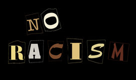 No racism. Text no racism composed of clipped letters painted in human skin's colors Royalty Free Stock Photography