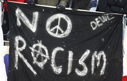*No Racism* banner. KYIV, UKRAINE - FEBRUARY 24: FC Besiktas supporters show their *No Racism* banner during UEFA Europa League game against FC Dynamo Kyiv on Royalty Free Stock Photography