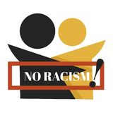 No racism isolated emblem dark and fair skin characters. Dark and fair skin characters no racism isolated emblem vector equality and tolerance logo solidarity royalty free illustration