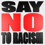 No racism red and black text 3d render. Illustration vector illustration