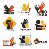 No racism and tolerance isolated icons holding hands campaign vector illustration