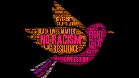 No Racism Word Cloud. On a black background Stock Photography