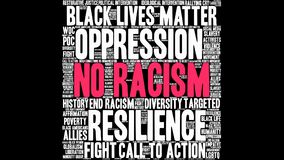 No Racism Word Cloud. On a black background Stock Image