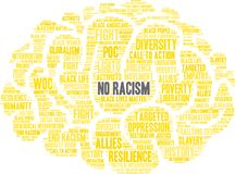 No Racism Word Cloud. On a white background Stock Photography