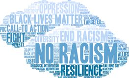 No Racism Word Cloud. On a white background Stock Photo