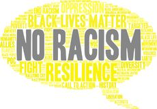 No Racism Word Cloud. On a white background Royalty Free Stock Images