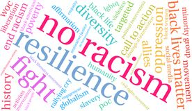 No Racism Word Cloud. On a white background Royalty Free Stock Photography