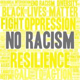 No Racism Word Cloud. On a white background Stock Photos