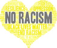 No Racism Word Cloud. On a white background Stock Images