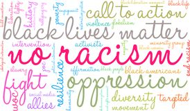 No Racism Word Cloud. On a white background Royalty Free Stock Image