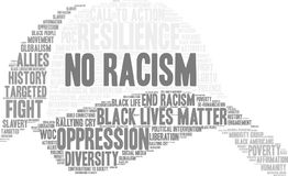 No Racism Word Cloud. On a white background Royalty Free Stock Photo