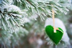 No ramo coberto de neve de árvores de Natal, as decorações do Natal penduram sob a forma das bolas transparentes, corações do fel Fotografia de Stock Royalty Free