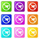 No rats sign icons 9 set Stock Images
