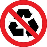 No recycling sign. No recycling allowed sign Stock Photos