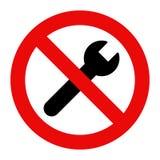 No repair symbol. Prohibition sign Stock Image