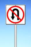 No return back road sign. Over blue sky Stock Photography