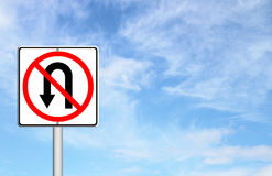 No return back road sign. Over blue sky blank for text Royalty Free Stock Images