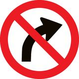 No right bend direction sign. No right bend direction allowed sign Stock Photo