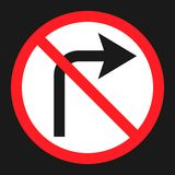 No Right prohibition turn sign flat icon Royalty Free Stock Photography