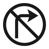 No Right prohibition turn sign line icon Royalty Free Stock Image