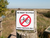No right to cycle public footpath only country post sign Royalty Free Stock Photography