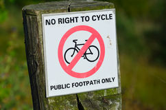 No right to cycle sign Royalty Free Stock Photography
