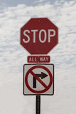 No Right Turn All Way Stop Sign Royalty Free Stock Photos