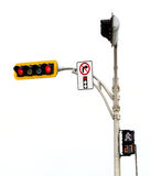 No Right Turn on red Light Intersection Isolated On White Royalty Free Stock Photo