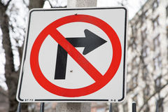 No Right Turn. A red, white and black no right turn sign Royalty Free Stock Photo