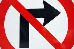 No right turn sign. Closeup of no right turn traffic sign royalty free stock images